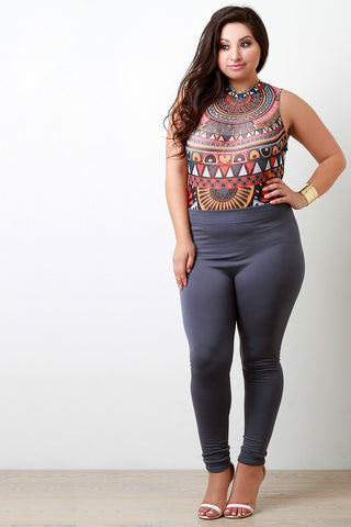 Aztec Huntress Mock Neck Mesh Bodysuit