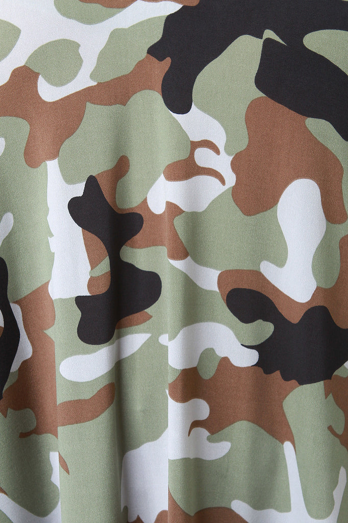 Camouflage V-Neck Shift Dress