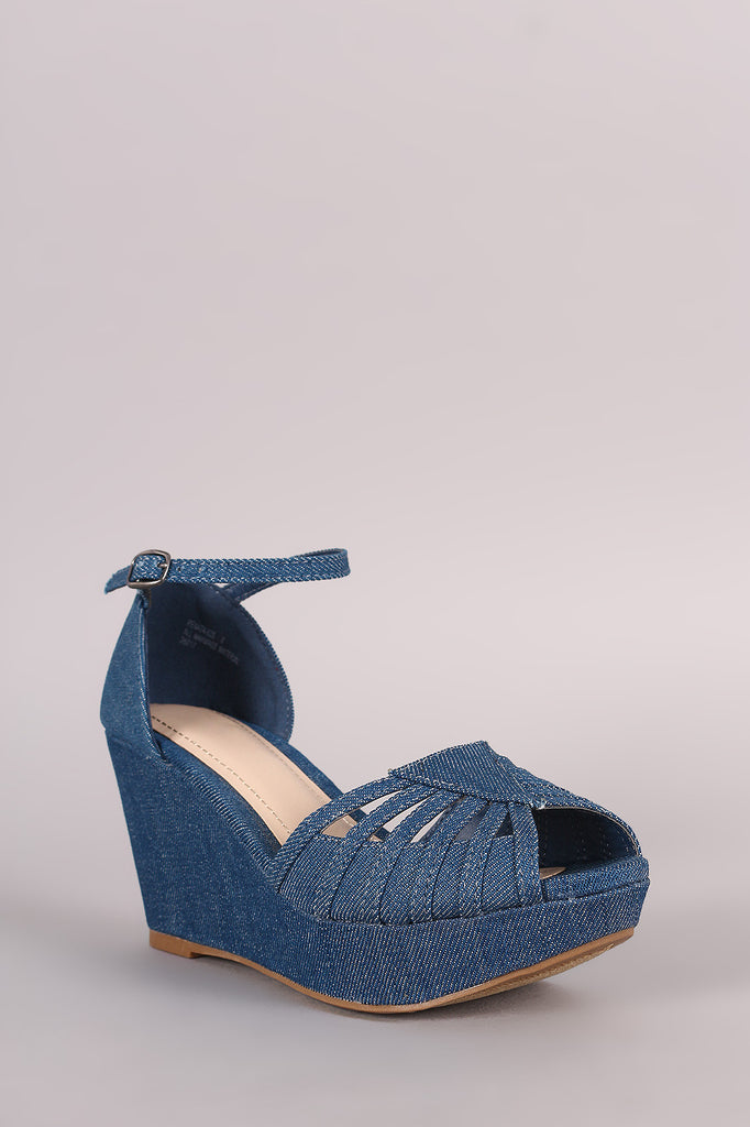 Bamboo Denim Strappy Peep Toe Platform Wedge