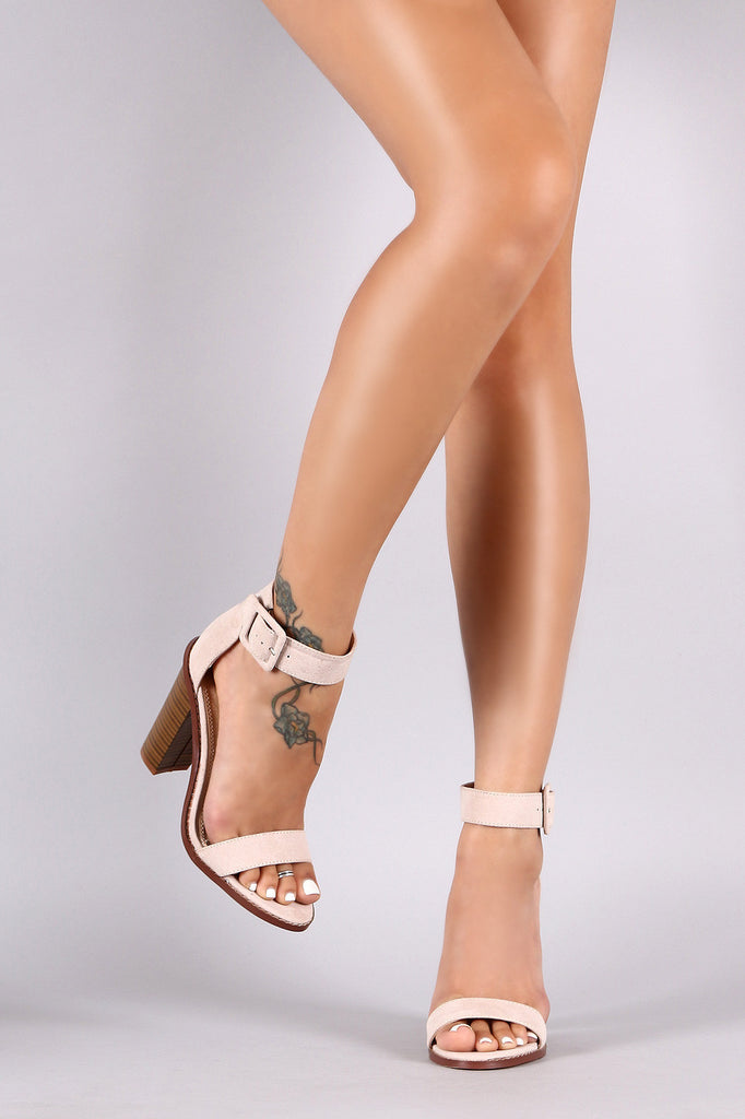 Liliana Suede Ankle Strap Chunky Heel