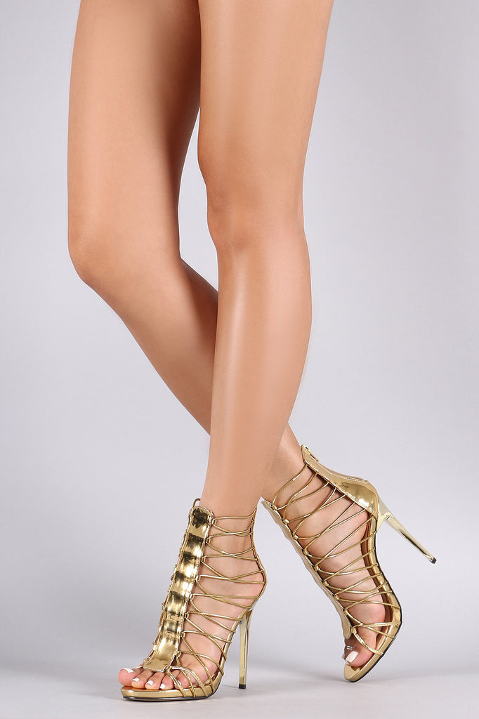 Elasticized Straps Caged Gladiator Heel