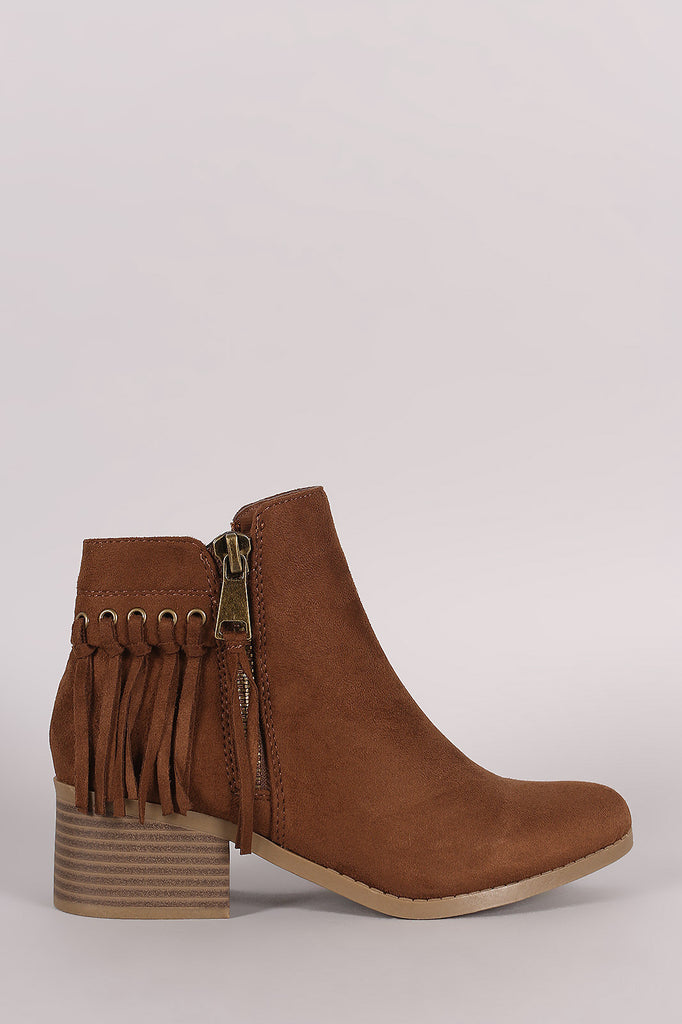 City Classified Suede Fringe Block Heel Ankle Boots