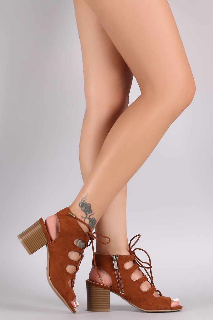 Bamboo Suede Peep Toe Lace-Up Chunky Mule Heel