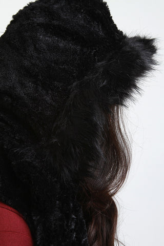 Hooded Fur Circle Scarf