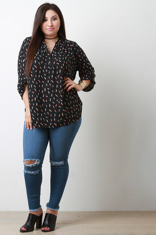 Beauty Queen Lipstick Print Blouse