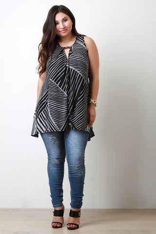 Broken Stripes Sleeveless Knit Top