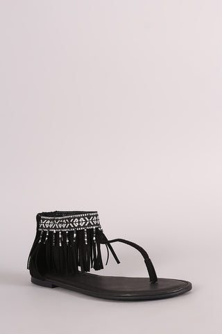 Bamboo Suede Embroidered Fringe Cuff T-Strap Flat Sandal