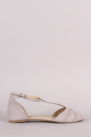 Qupid Braided T-Strap Pointy Toe Suede Flat
