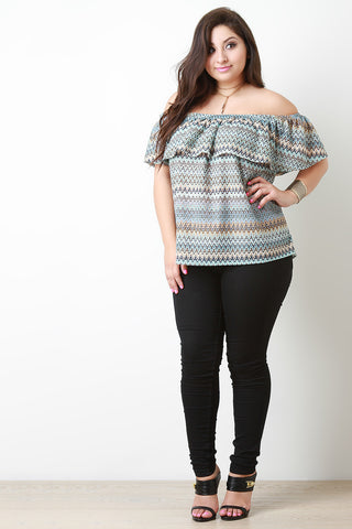 Chevron Knit Bardot flutter Top