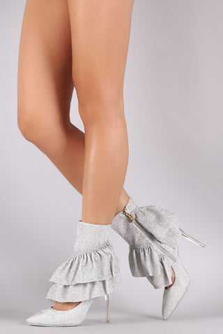 Glitter Tierd Ruffle Cutout Pointy Toe Stiletto Booties