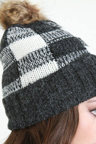 Knitted Gingham Faux Fur Lined Beanie