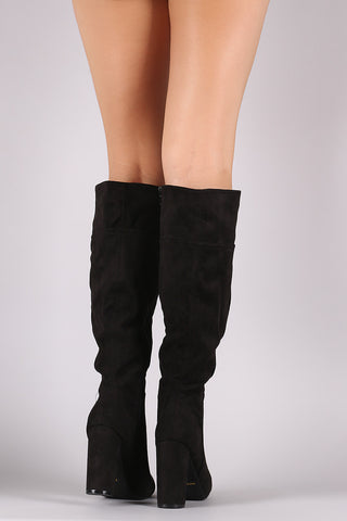 Bamboo Plain Suede Chunky Heeled Knee High Boots