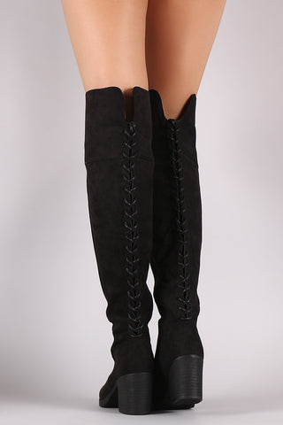 Bamboo Suede Back Lace Up OTK Boots