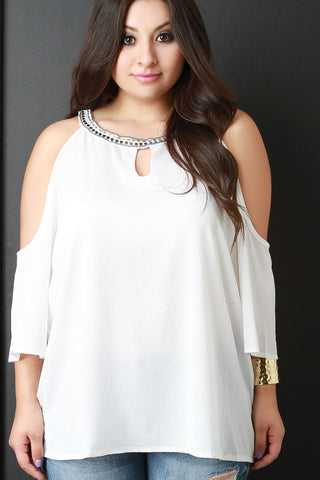 Beaded Neckline Cold Shoulder Blouse