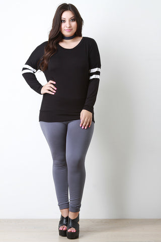 Casual Long Sleeve Double Arm Band Top