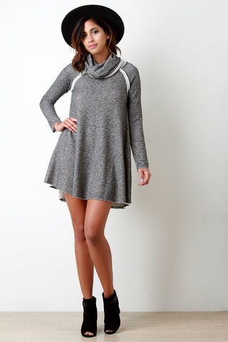 Cowl Neck Longsleeve Pocketed Shift Dress