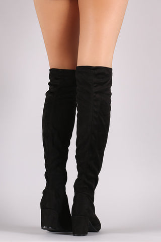 Bamboo Suede OTK Fitted Block Heeled Boots
