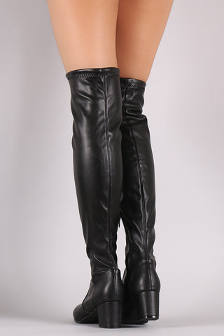 Bamboo Leather OTK Fitted Block Heeled Boots