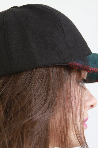 Wool Plaid Brim Baseball Cap