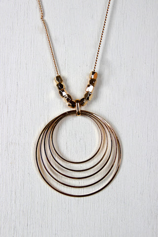 Elliptical Rings and Beads Necklace