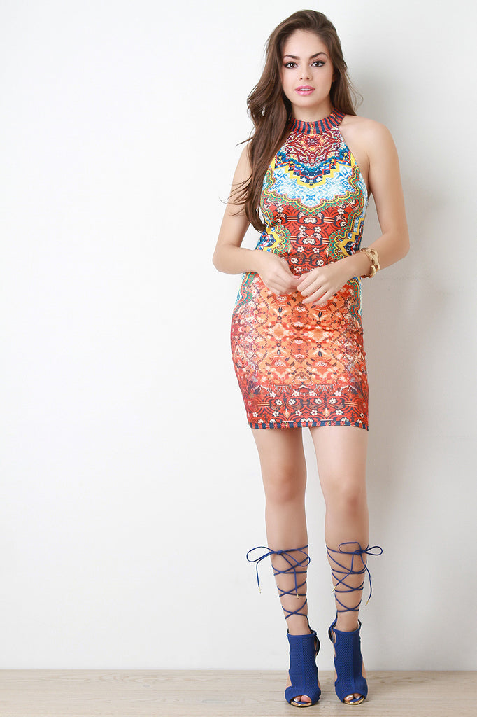 Bohemian Sleeveless Cutaway Bodycon Dress