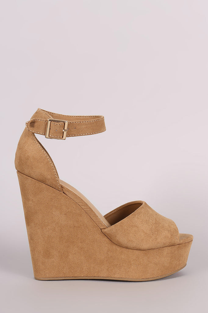 Bamboo Suede Ankle Strap Platform Wedge