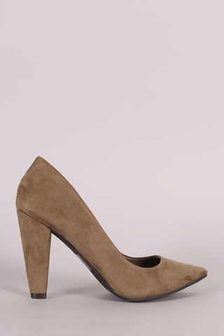 Breckelle Suede Chunky Heeled Pointy Toe Pump
