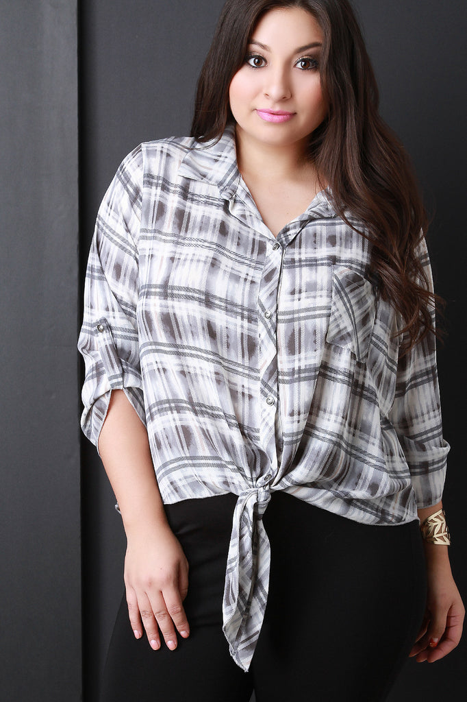 Plaid Self-Tie Button-Up Top