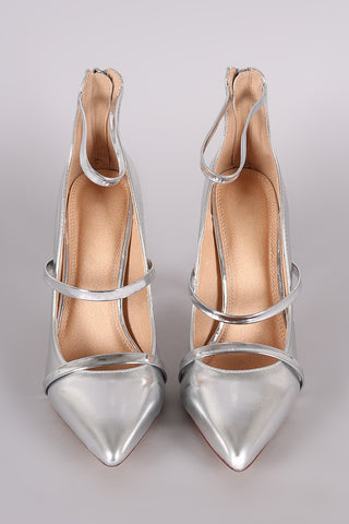 Liliana Metallic Trio Straps Stiletto Pump