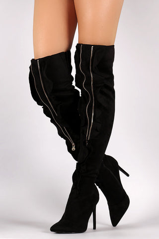 Suede Ruffle and Zipper Pointy Toe Stiletto Heel Boots
