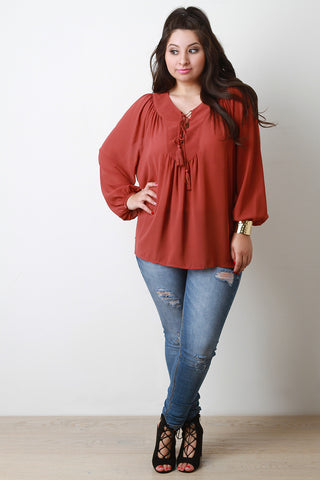 Chiffon Lace Up Peasant Blouse