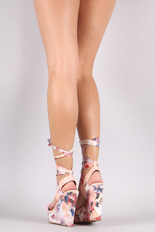 Bamboo Printed Strappy Leg Wrap Platform Wedge