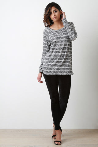Button Back Marled Striped Sweater Top