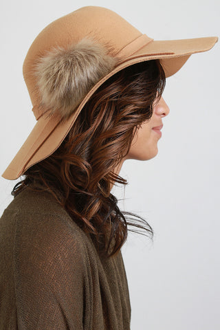 Pom Pom Wool Floppy Hat