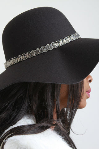 Beaded Trim Floppy Hat