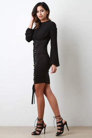 Grommets Lace Up Front Long Sleeves Bodycon Mini Dress