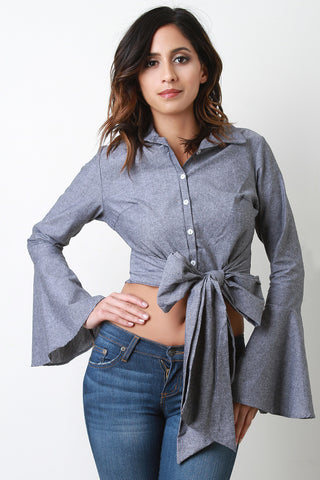 Bow Tie Button Up Bell Sleeves Crop Top