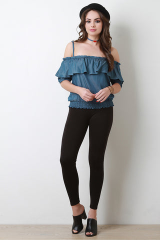 Chambray Off-The-Shoulder Ruffle Top