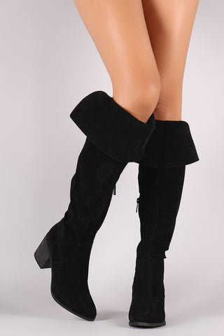 Breckelle Suede Cuff Pointy Toe Block Heeled Over-The-Knee Boots