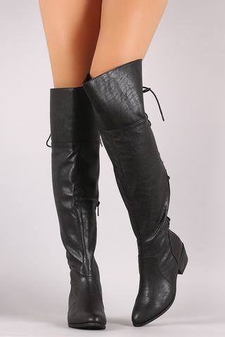 Breckelle Back Lace Up Over-The-Knee Boots