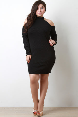 Basket Weave Textured Cold Shoulder Dress