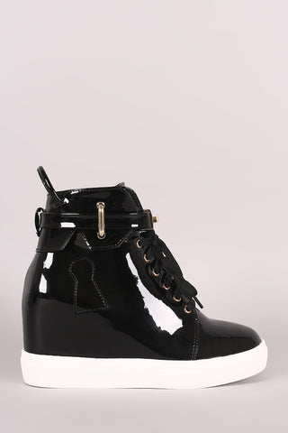 Mirror Metallic Twist-Lock Lace Up High Top Wedge Sneaker