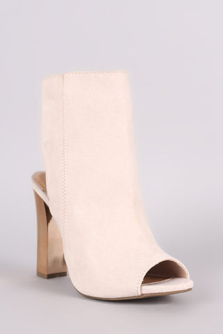 Bamboo Suede Chunky Metallic Heeled Ankle Boots