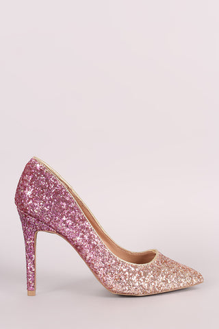 Metallic Glitter Ombre Pointy Toe Pump