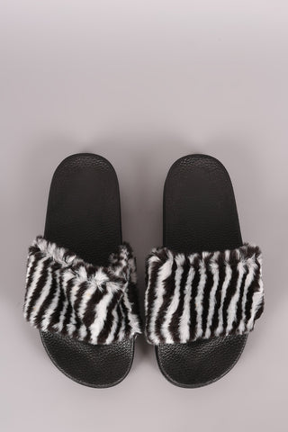 Fluffy Zebra Faux Fur Slide Sandal