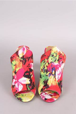 Bamboo Abstract Watercolor Floral Chunky Mule Heel