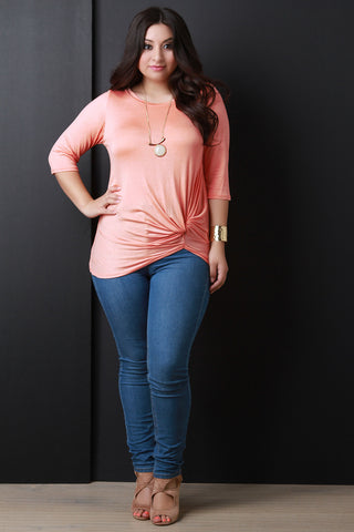 Casual Jersey Knit Knotted Twist Top