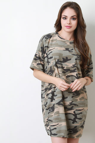 Corset Belted Camouflage T-Shirt Dress