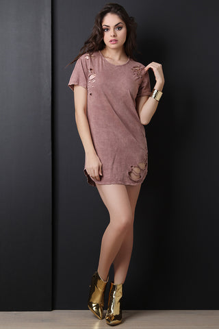 Casual Distressed Mineral Wash Tee Dress