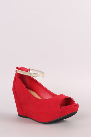 Bamboo Suede Peep Toe Wedge Pump